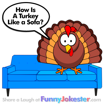 Funny Turkey on a Sofa Joke